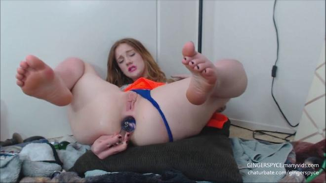 Sexy Feet Ginger Slut Fucks Pink Asshole Gingerspyce
